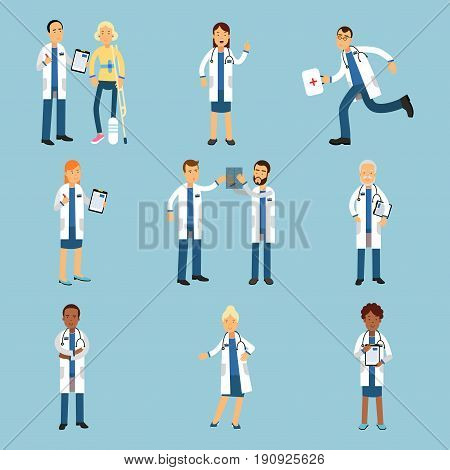 Hospital medical staff, set of practitioner young doctors colorful Illustrations on a light blue background