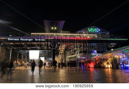 SYDNEY AUSTRALIA - MAY 31, 2017: Unidentified people visit Oversea Passenger Terminal. Oversea Passenger Terminal is a cruise ferry terminal for oversea passengers located in Circular Quay.