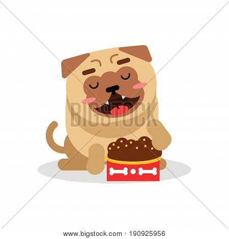 Funny pug dog character sitting beside a full bowl of kibbles vector Illustration isolated on a white background