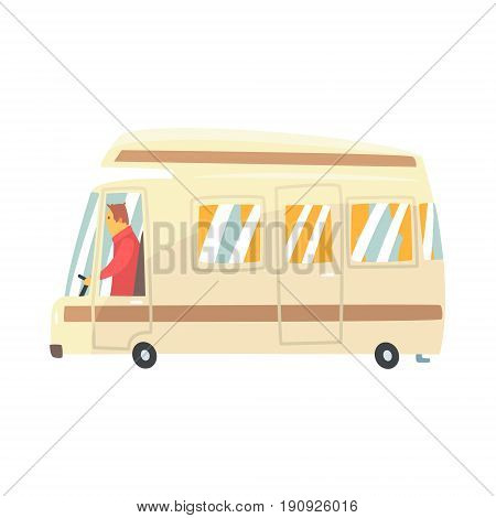 Vintage cartoon travel minibus. Camper van vector Illustration isolated on a white background