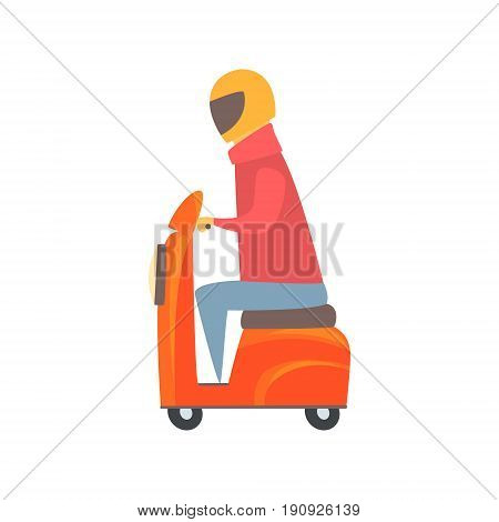 Man riding orange motorbike cartoon vector Illustration isolated on a white background
