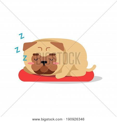 Cute cartoon pug dog character sleeping on red mat vector Illustration isolated on a white background