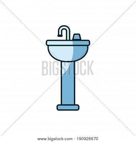 blue shading silhouette of washbasin with pedestal vector illustration