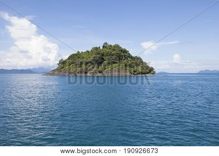 blue sea water and abandon rock island near koh chang trad eastern of thailand