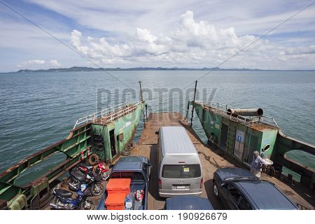 TRAD THAILAND - OCTOBOR 30 2014 : ferry boat carrying land vehicle from koh chang island heading to trad port koh chang most popular traveling destination in eastern of thailand