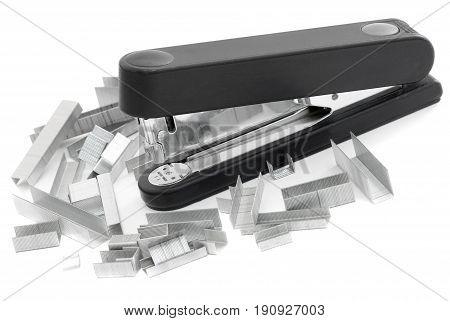 Black stapler and many different staples Isolated on white background