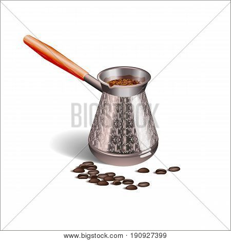 Realistic picture of a Cup of coffee, Turks and coffee beans isolated on white background. Vector illustration.