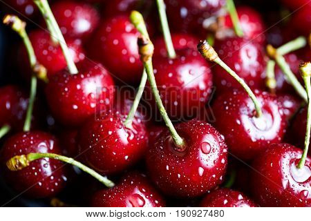 Sweet cherry lies on the table. Macro photo background, close-up. Antioxidant, natural, vitamin, organic berry. Drops of water on the surface of berries. Selective focus