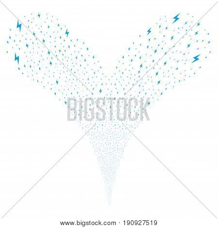 Electric Bolt explosive stream. Vector illustration style is flat blue iconic electric bolt symbols on a white background. Object fountain created from random pictograms.