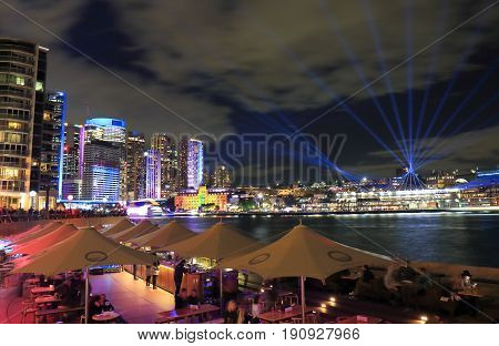SYDNEY AUSTRALIA - MAY 31, 2017: Unidentified people dine in Circular Quay.