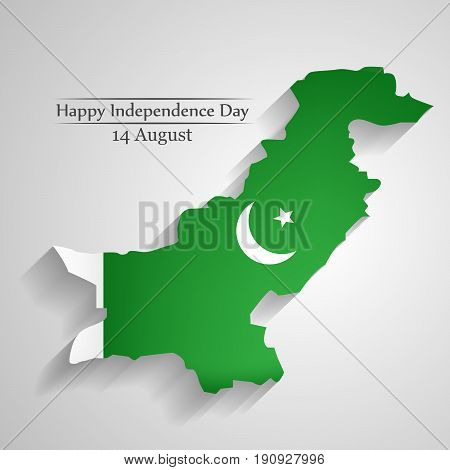 illustration of Pakistan map in Pakistan flag blackground with Happy Independence day 14th Augusttext