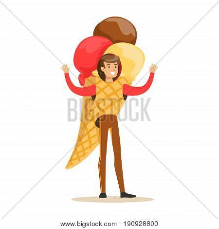 Man wearing ice cream cone costume, puppets food vector Illustration isolated on a white background