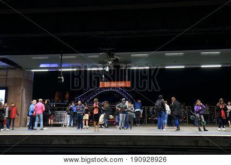 SYDNEY AUSTRALIA - MAY 31, 2017: Unidentified people travel at Circular Quay train station.