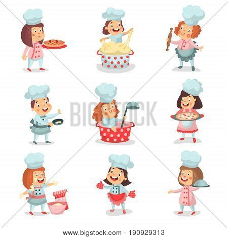 Cute little cook chief kids cartoon characters cooking food and baking detailed colorful Illustrations isolated on white background