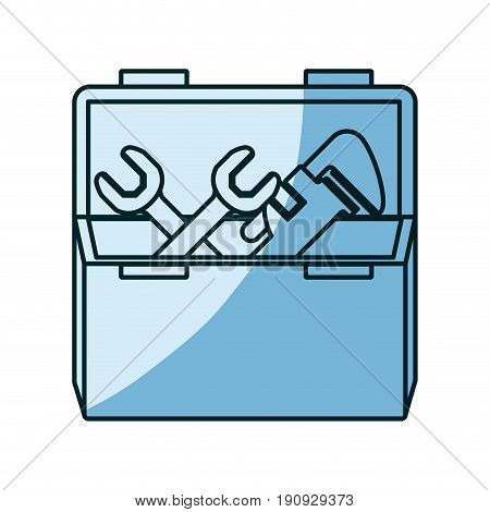 blue shading silhouette of opened plumbing toolbox vector illustration