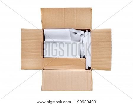 Opened package. Top view of open delivery with blank white box inside. Copy space on the box isolated on white clipping path included