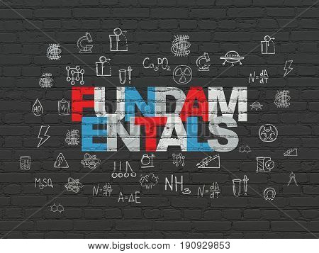 Science concept: Painted multicolor text Fundamentals on Black Brick wall background with  Hand Drawn Science Icons
