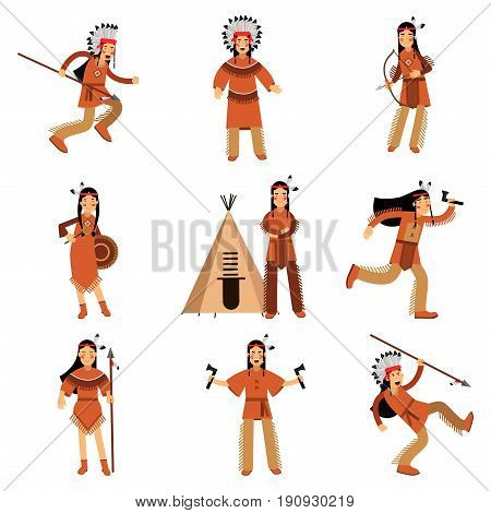 Native american indians characters in traditional clothing with weapons and other cultural objects detailed colorful Illustrations isolated on white background