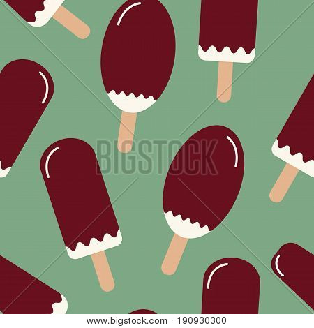 Summer mood pattern with sweet ice cream. Texture with cold desserts ice cream fudge sundae