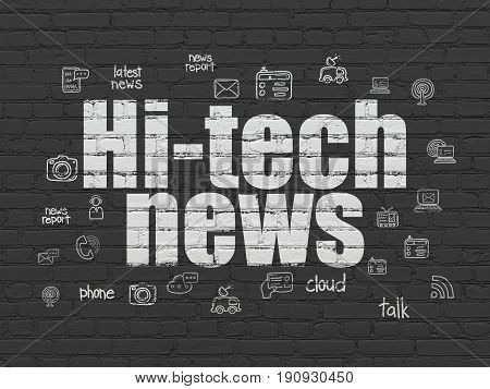 News concept: Painted white text Hi-tech News on Black Brick wall background with  Hand Drawn News Icons