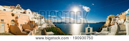 Panorama if Oia. Santorini island. Oia ( Ia ) is a small town  in the Aegean  islands of Thira ( Santorini ) and Therasia, in the Cyclades, Greece.