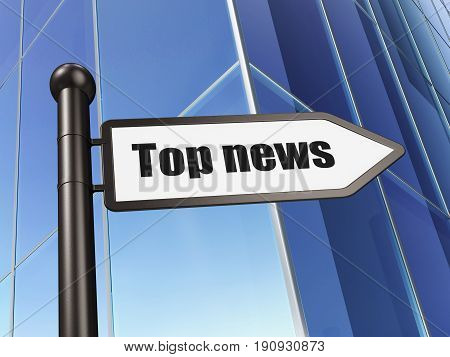News concept: sign Top News on Building background, 3D rendering