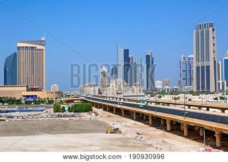 DUBAI, UAE - OCTOBER 23: Financial Centre Road on October 23, 2012 in Dubai, UAE. Financial Centre Road - the largest automobile Dubai highway