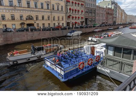St. Petersburg, RUSSIA - May 30, 2017: Excursions, boat trips in St. Petersburg through canals and rivers, tourism in the cultural capital of Russia