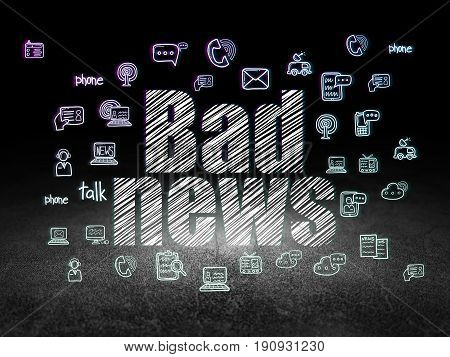 News concept: Glowing text Bad News,  Hand Drawn News Icons in grunge dark room with Dirty Floor, black background