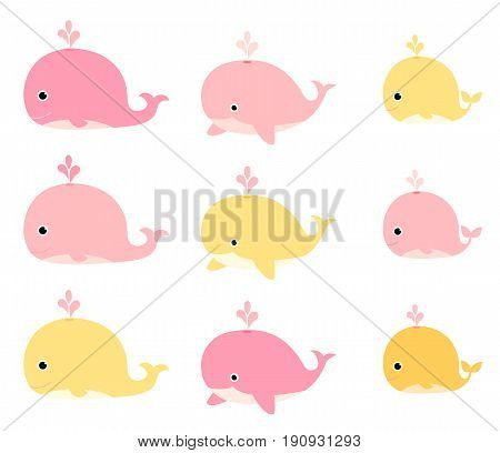A set of cute whales in pink and yellow colors