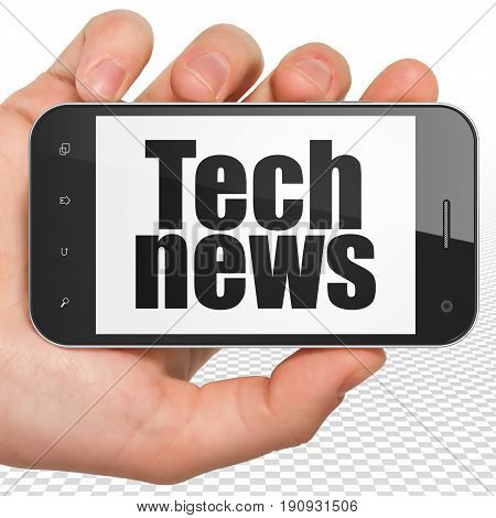 News concept: Hand Holding Smartphone with black text Tech News on display, 3D rendering