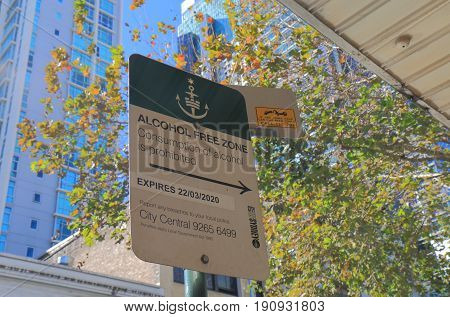 SYDNEY AUSTRALIA - JUNE 1, 2017: Alcohol free zone sign in downtown Sydney