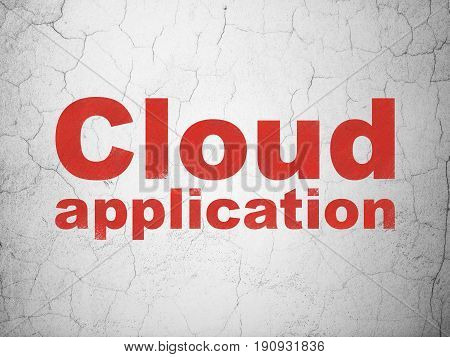 Cloud computing concept: Red Cloud Application on textured concrete wall background