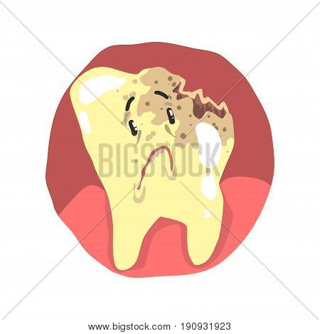 Tooth decay cartoon character with sad face vector Illustration isolated on a white background