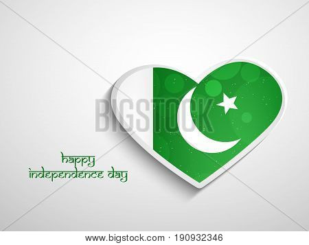illustration of heart in Pakistan Flag background with Happy Independence Day text on the occasion of Pakistan Independence day