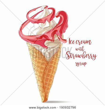 Vector ice cream in waffle cone with strawberry spiral twisted around. watercolor illustration. Isolated objects on a white background