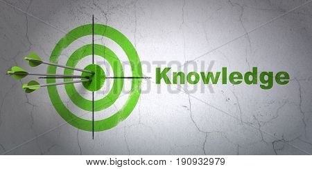 Success Studying concept: arrows hitting the center of target, Green Knowledge on wall background, 3D rendering