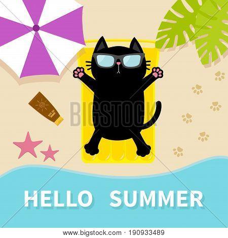 Black cat sunbathing on the beach Yellow air pool water mattress. Hello summer. Top aerial view. Beach sea ocean sand umbrella palm tree leaf star fish spf lotion paw print. Flat design Vector