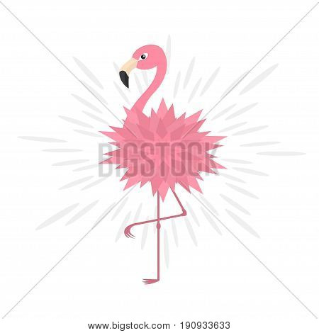 Pink flamingo. Pink flower body. Shining effect. Exotic tropical bird. Zoo animal collection. Cute cartoon character. Decoration element. Flat design. White background. Isolated. Vector illustration