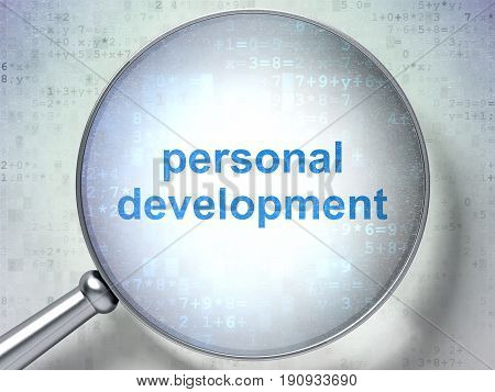 Education concept: magnifying optical glass with words Personal Development on digital background, 3D rendering