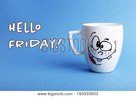 Text HELLO FRIDAY and cup with funny face on color background