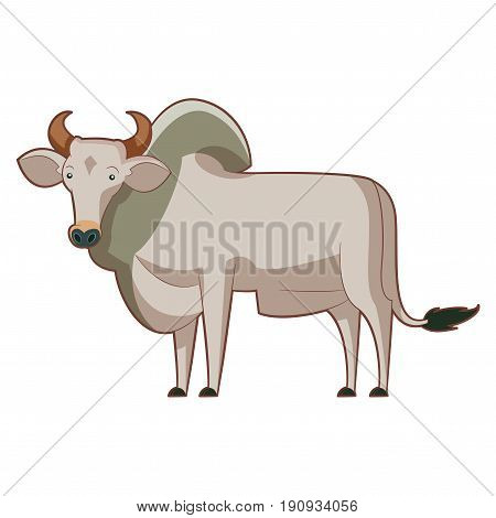 Vector image of the Cartoon standing zebu