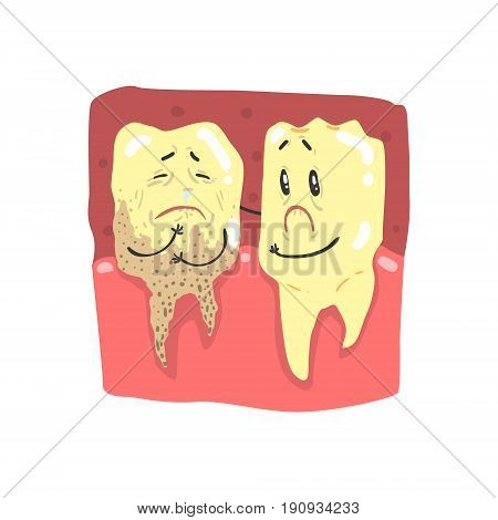 Cute cartoon healthy and decayed teeth characters with funny faces vector Illustration isolated on a white background