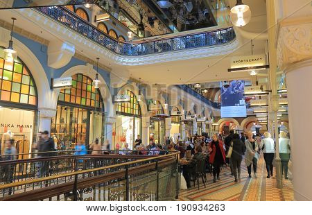 SYDNEY AUSTRALIA - JUNE 1, 2017: Unidentified people visit Queen Victoria building historical shopping mall.