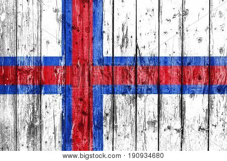 Flag of Faroe Islands painted on wooden frame