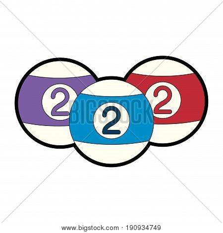 billards balls icon over white background colorful design vector illustration