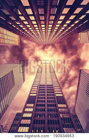 Hell Like Stylized Photo Of Manhattan Skyscrapers, Nyc.