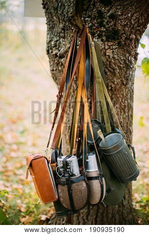 German Wehrmacht Infantry Soldier's Military Equipment Of World War II. Flasks And Bag Tank For Anti-gas Hanging In Tree Trunk.