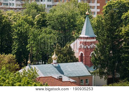 Gomel, Belarus. Aerial View Of Old Believers' Transfiguration Church. Orthodox Church At Sunny Summer Day