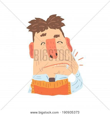 Man suffering from toothache pain cartoon character vector Illustration isolated on a white background